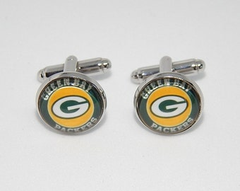 Green Bay Parkers logo cufflinks, football team, NFL football, sports cufflinks, Green Bay Parkers simbol, groomsmen wedding cufflinks