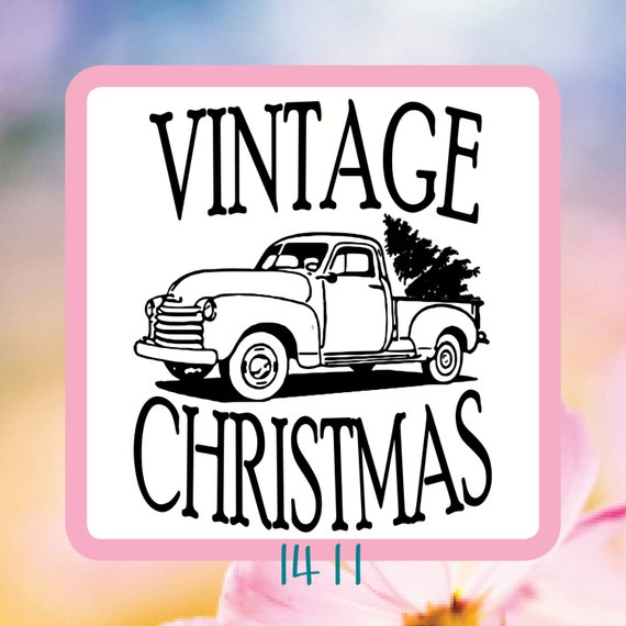Vintage Christmas Outline or Silhouette Vintage Truck With