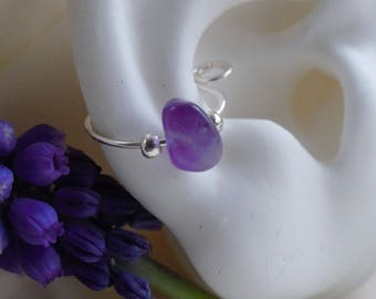 Cartilage jewelry*amethyst stone cuff*nonpiercing daith* septal ring* nose ring*silver with amethyst jewelry*purple stone