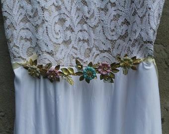 Gold sash- Wedding Sash- Bridal Belt- Leaf Sash- Leaf belt- Bridal sash- grecian- boho glam wedding belt-boho sash- bohemian