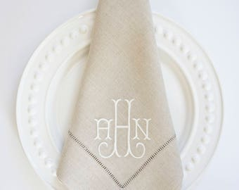 100% Linen French Flax Hemstitched Napkins, Wedding & Event Napkins, Special Occasions