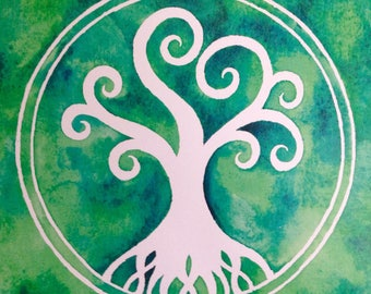 Tree Of Life Green Watercolour Art Print ~ Gift Nature Wall Decor Art Home Decor