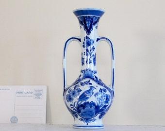 1970s Royal Delft Ware Vase/ Amsterdam Earthenware/ Vintage Bud Vase with Handles