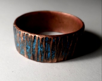 Copper Ring - Rustic Hammered w/ Blue/Green Oxide Verdigris Finish 10mm Band - Wedding Band
