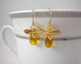 Honey bee earrings, queen bee earrings, bumble bee, honey drop earrings, 14k gold filled earrings