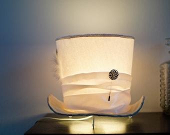 Alice in Wonderlamp bedside lamp made by hand - Mad Hatter inspired