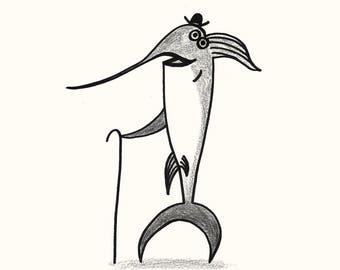 Swordfish - Elegant Animals - Kids Print -  Illustration Print - Nursery Decor - Kids Room