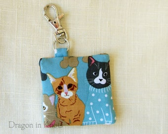 Cat Earbud Holder - Guitar Pick Case, Blue Cotton Fabric Keychain Pocket with Swivel Clip, Gift for Cat Lover, orange kitten and gray cat