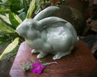 1980s Vintage Japanese Celadon Glaze Year Of The Rabbit Zodiac Figurine Okimono