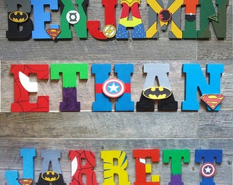 Attractive Hand Painted Superhero Letters For Kids Room, Nursery Decor, Kids Marvel  Wall Art,