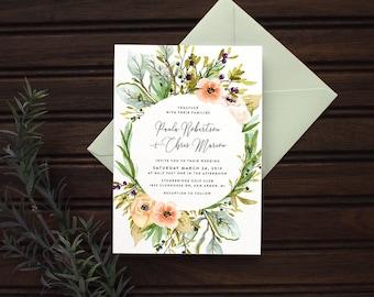 Meadow Watercolor Floral Wedding Invitation Set