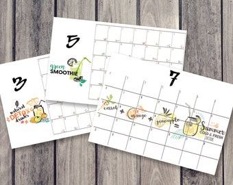 drinks calendar, fridge calendar, monthly calendar, monthly planner, desk decal calendar