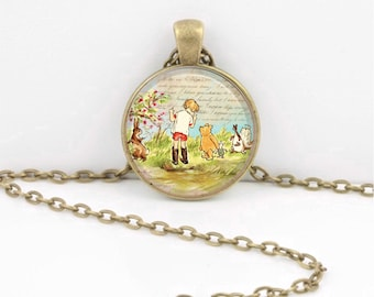 Winnie-the-Pooh classic illustration Christopher Robin Pendant Necklace or Key Ring