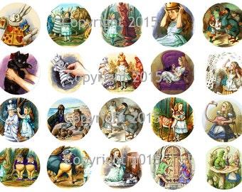 Printed Vintage Alice in Wonderland John Tenniel Circles Collage Sheet   8.5 x 11 for Decoupage, Altered Art, Scrapbooking etc.