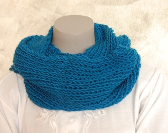 Knitted Snood hand ribbed Blue 1/1