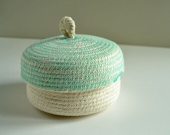 Small rope box, Home office box, Jewellery holder, box, Coastal decor, Box with lid, Cotton box, Gift box, Mediterranean style, rope box