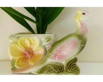 Vintage Shawnee Pottery Bird And Flower Planter-Mid Century