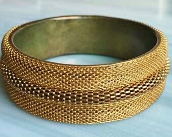 Stunning, Wide, Gold Tone, 'Woven Mesh' Bangle Bracelet