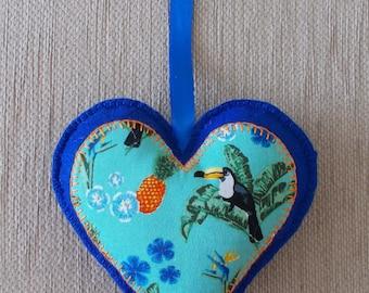 Handmade Toucan / Tropical blue felt heart door hanging decoration
