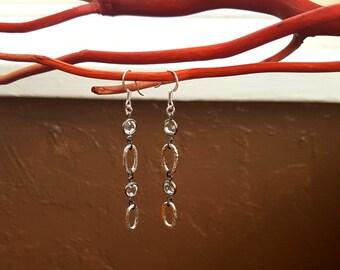 Hammered Fine Silver Swarovski Earrings - fine silver, 99.9% pure silver, swarovski crystal, dangle earrings, crystal earrings, long dangle