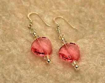 Pink Rose Crystal Earrings