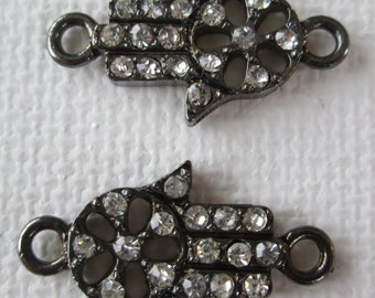 2PCS - Hand of Hamsa Connector Charms - Gunmetal with Crystals - 21x12mm
