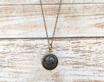 Lava Circle Necklace // Essential Oil Diffuser Necklace // Diffuser Jewelry // Healing Stone // Aromatherapy