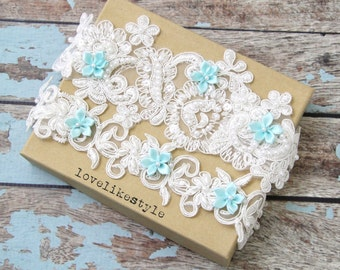 Ivory Pearl Beaded Lace with Mint Blue Flower Wedding Garter Set , Ivory Lace Garter Set, Toss Garter , Keepsake Garter  / GT-44