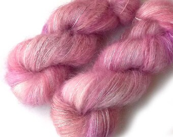 Hand Dyed Yarn Kid Mohair and Silk Lace Yarn, Silky Kid 455 yards, Cherry Blossom