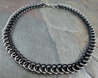 Chainmaille Necklace - Black and Steel - Half Persian - Chainmail Jewelry - Men's Necklace - Chainmail Necklace