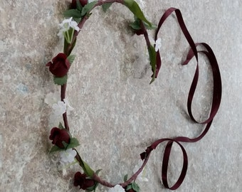 Burgundy Flower Crown Little Girl and Adult Bridal Halo Wedding accessories rustic marsala Hair Wreath bridal headpiece silk floral