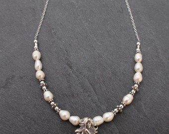 Mermaid Necklace, Sterling Silver, 20 inch, Freshwater Pearls, Large Mermaid, Necklace, Mermaid Jewelry, 20 inches, Long Necklace, White
