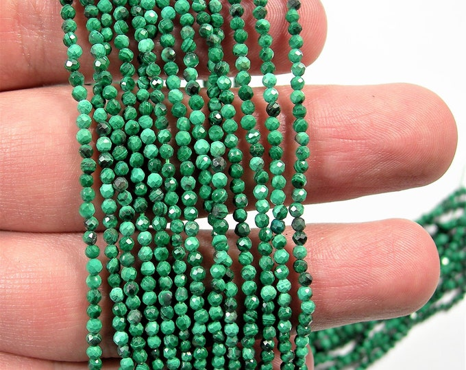 Malachite - 2mm faceted round beads -  1 full strand 16 inch - 40 cm - 187 beads - Micro Faceted - A Quality - PG146