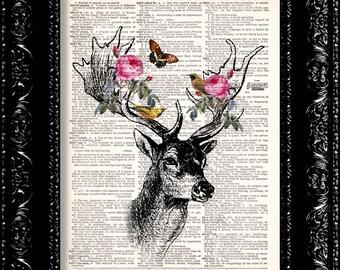 Floral Forest Deer Vintage Dictionary Print Vintage Book Print Page Art Upcycled Vintage Book Art