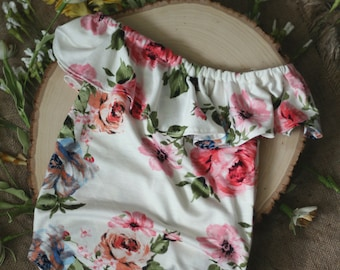 SITTER Photography Prop - Valentina Romper - Creamy White Stretch Knit with Pink Floral Pattern