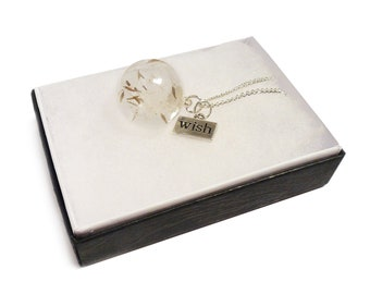 Dandelion seed globe necklace, Make a Wish flower silver necklace