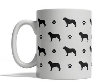 Saint Bernard Silhouettes Coffee Mug, Cup - 11 oz dog silhouette shape tea, St. Bernard