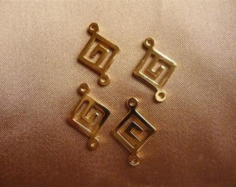 Link, Gold-Plated Brass, 12x12mm, Greek Key Diamond , Pack Of 8 links.