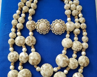 Vintage beaded 3 strand necklace and clip earrings