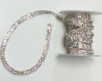 AURORA BOREALIS Clear Crystal Chain Trim Silver Wedding Sewing Headband Aurora Borealis Rainbow 2 1/2 Yard