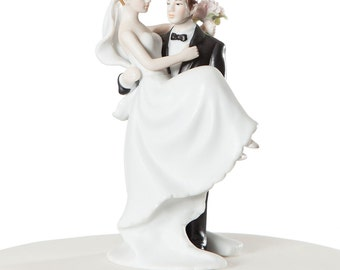 Small Groom Holding Bride Traditional Cake Topper Figurine - Custom Painted Hair Color Available - 70810