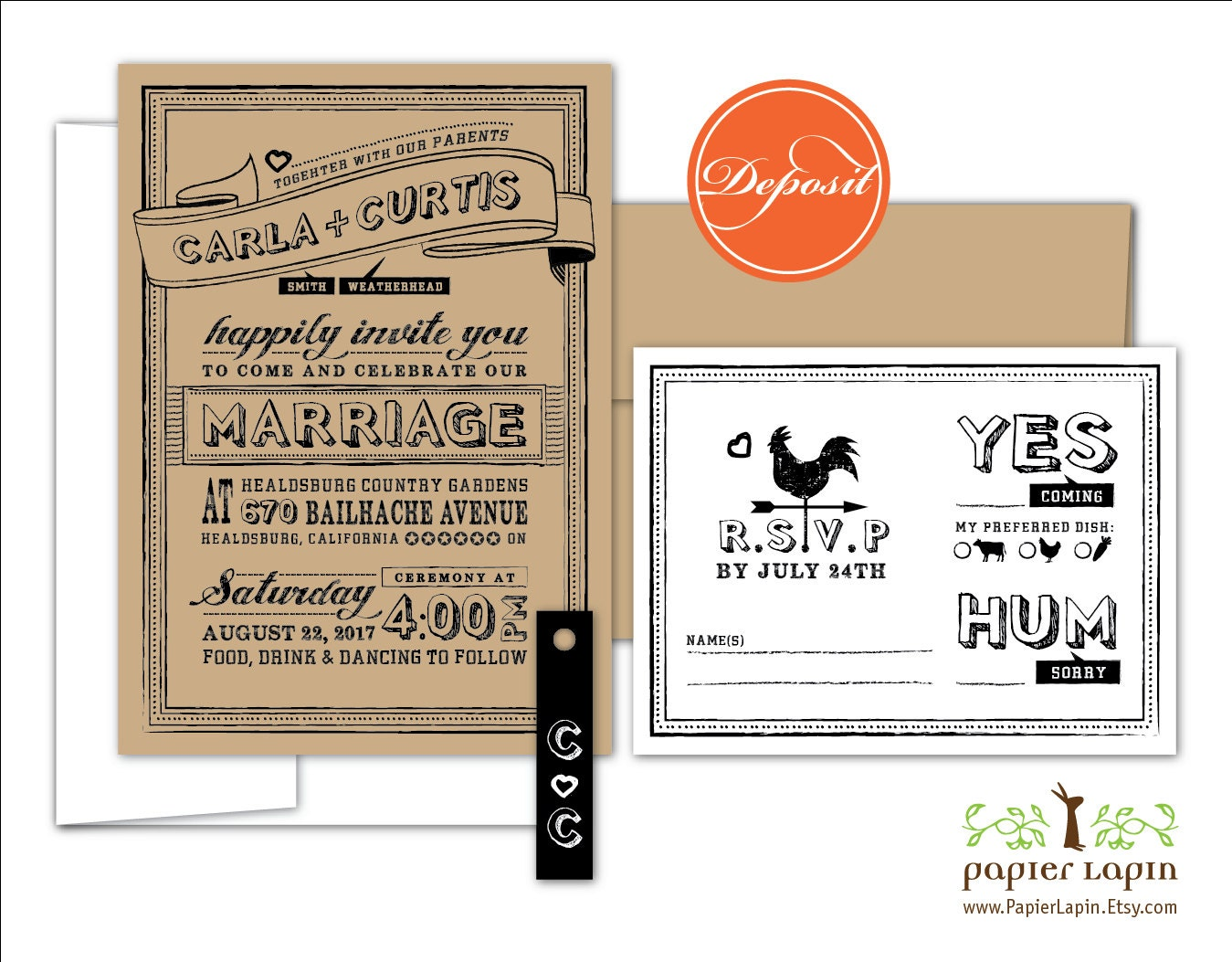Quirky Wedding Invitation: Chalky: Quirky Kraft Eco Wedding Invitation Chalkboard Hand