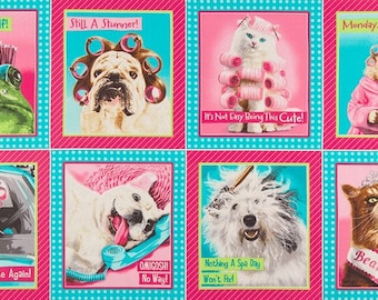 Divas and Tough Guys  Silly Animals in Multi, Pink & Blue, Panel