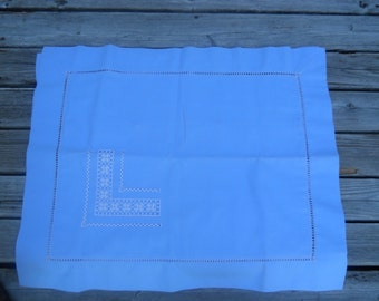 Vintage Pillow Shams, Blue with Blue and White Drawnwork