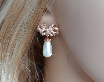 Exquisite Cubic Zirconia CZ & Pearl Rose Gold Bow Bridal Dangle Earrings (Pearl-810)