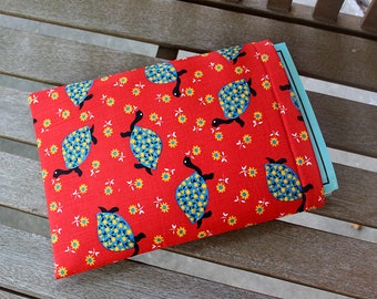 Vintage Retro Red Turtle Large 9x12 inch Foam Padded Fully Lined Book Sleeve Tablet Case