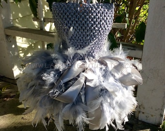 Gray feather tutu dress, tutu, girls dress, girls tutu, feather tutu, clothing, girls clothing, girls costume, feather dress, costume