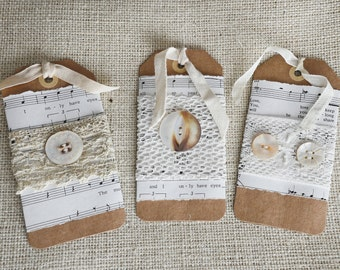 3 Music Note Tags - Vintage Ecru Lace - Antique Pearl Button - Gift Tag - Music Lover Gift - Romantic Decor - Shabby Chic Tag - Mixed Media