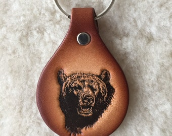 Handmade Leather Bear Key Tag