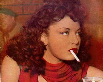 Paris Cocktail Magazine  1951  Redhead Beauty Smokes Cigarette on Cover  Burlesque  Strippers French Models Dancers Entertainers  mature